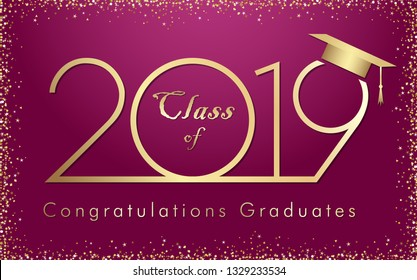 Class of 20 19 year graduation banner with glittering awards confetti. T-shirt idea, embem in minimalism style. Isolated abstract graphic design template. Holiday shining pink and violet background.