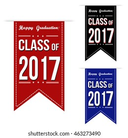 Class of 2017 banner design set over a white background, vector illustration