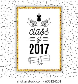 Class of 2017 graduation greeting card with bell, scroll and laurel on Memphis style background for invitation, banner, poster, postcard. Vector graduate template