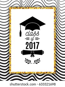 Class of 2017 greeting card with hat, scroll and laurel on waves background for invitation, banner, poster, postcard. Vector graduate template