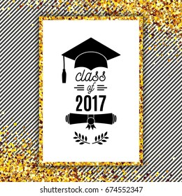 Class of 2017 greeting card with hat, scroll and laurel on stripe background for invitation, banner, poster, postcard. Vector graduate template