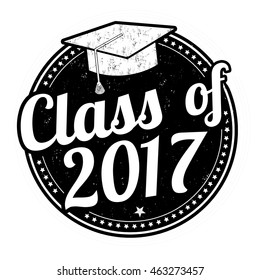 Class of 2017 grunge rubber stamp on white, vector illustration