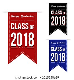 Class of 2018 banner design set over a white background, vector illustration