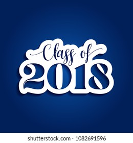 Class of 2018 Congratulations Graduate - Typography. gold texture and isolated dark blue background.