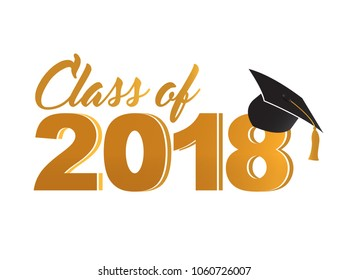 Class of 2018 golden sign Illustrator. design graphic isolated over white