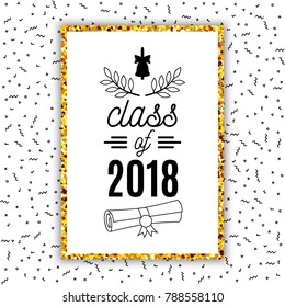 Class of 2018 graduation greeting card with bell, scroll and laurel on Memphis style background for invitation, banner, poster, postcard. Vector graduate template. All isolated and layered