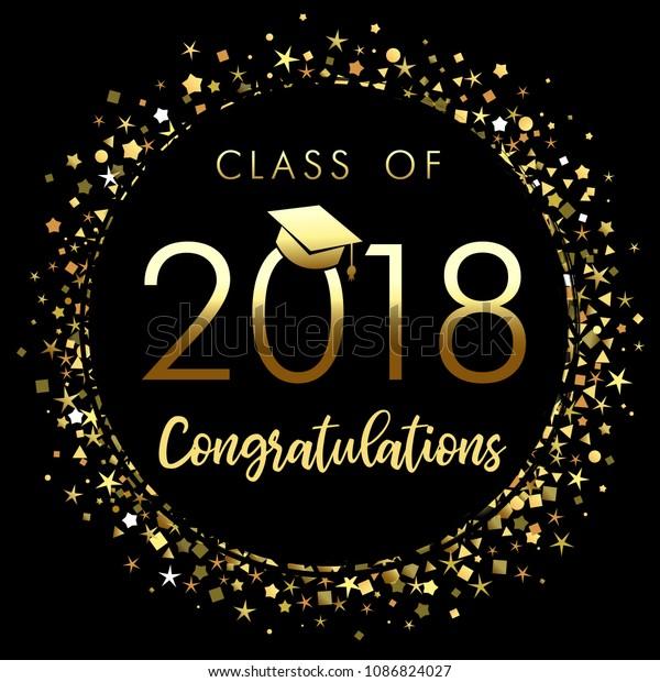 Class 2018 Graduation Poster Gold Glitter Stock Vector