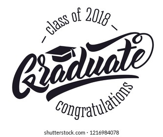 Graduatу class of 2018. Vector text for graduation design, congratulation event, party, high school, college graduate. Lettering Class of 2018 for greeting, invitation card.Isolated white background
