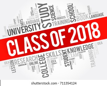 CLASS OF 2018 word cloud collage, education concept background