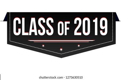 Class of 2019 banner design on white background, vector illustration