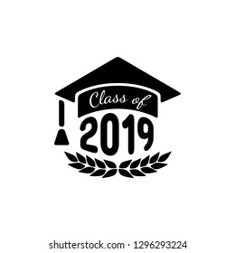 Class of 2019. Black number with education academic caps and laurel wreath. Template for graduation design, high school or college congratulation graduate, yearbook. Vector illustration.