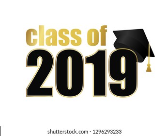 Class of 2019. Black number with gold  stroke and dark education academic cap. Template for graduation design frame, high school or college congratulation graduate, yearbook. Vector illustration.