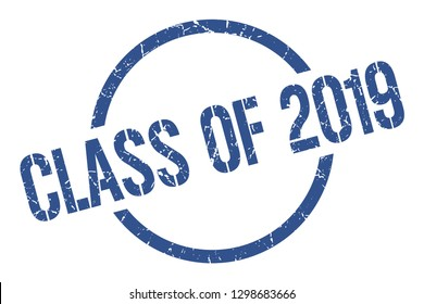 class of 2019 blue round stamp