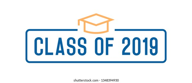 Class of 2019 Congratulations graduates design. Vector illustration for party invites, banners, backgrounds, covers. Graduation day, prom night and other academic events. Vector