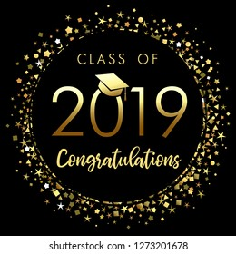 Class of 2019 graduation poster with gold glitter confetti. Class of 20 19 congratulations design graphics for decoration with golden colored for design cards, invitations or banner