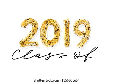 Class of 2019. Hand drawn brush lettering Graduation logo. Template for graduation design, party, high school or college graduate, yearbook. Modern calligraphy. Vector illustration.