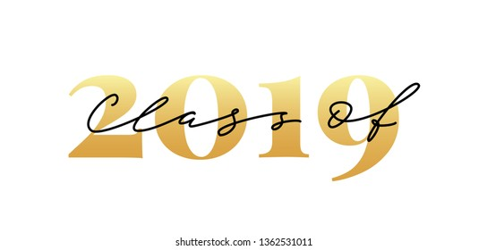 Class of 2019. Lettering Graduation logo. Modern calligraphy. Vector illustration. Template for graduation design, party, high school or college graduate, yearbook.