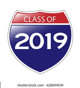 Class of 2019 USA Interstate Sign with reflection. Vector EPS-10 file, transparency used.