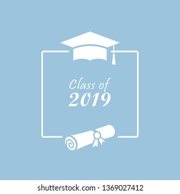 Class of 2019 vector card design with text frame