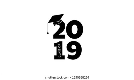 Class of 2019. Vector illustration.  Graduation logo. Template for graduation design, party, yearbook