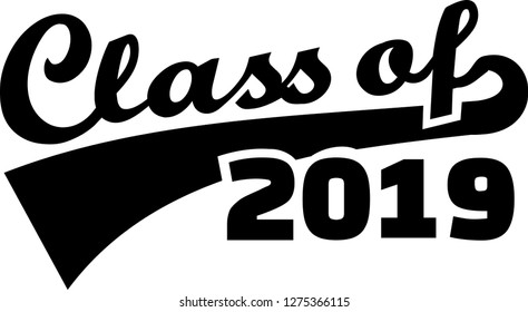 Class of 2019 words retro style red