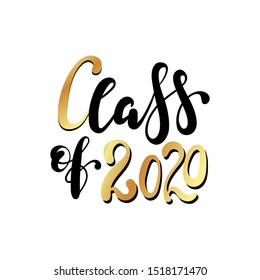 Class of 2020. Black Hand drawn brush lettering. Graduation logo on white background. Template for graduation design, party, high school or college graduate, yearbook.