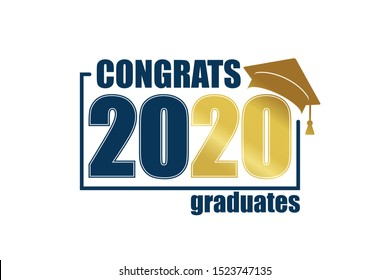 Class of 2020. Blue frame and gold number with education academic cap. Template for graduation design frame, high school or college congratulation graduate, yearbook. Vector illustration.