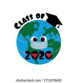 Class of 2020 with Eart Planet in Graduation Cap. Coronavirus-Graduation design, party, high school or college graduate, yearbook. Vector illustration