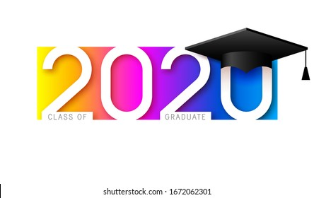 Class of 2020, elegant card in colorful colors for banners, flyers, greetings, invitations, business diaries, congratulations and posters at the prom. Vector illustration. Graduation, class of 2020