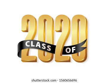 Class of 2020 Graduate Gold Lettering Graduation 3d logo with black ribbon. Template for graduation design, party, high school or college graduate, yearbook 2020. Vector illustration