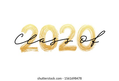 Class of 2020. Graduate Modern calligraphy. Vector illustration. Hand drawn brush lettering Graduation logo. Template for graduation class of 2020 design, party, high school college graduate, yearbook