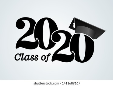 Class of 2020 with graduation cap. Congratulations on graduation with the inscription graduate. Flat simple design. Vector Illustration. Isolated on white background.