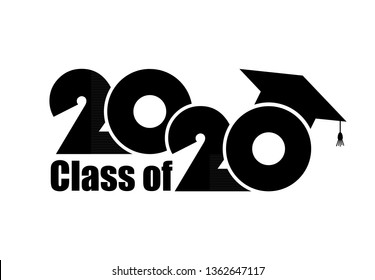 Class of 2020 with Graduation Cap. Flat simple design on white background