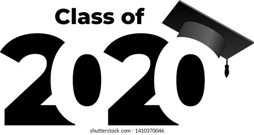 Class of 2020 with graduation cap. Text design pattern. Vector illustration. Isolated on white background.