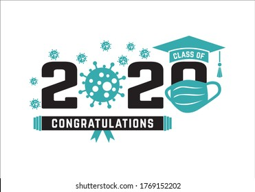 Class of 2020 in medical mask of year during quarantine. Graduation logo. Template for graduation design, party, high school or college graduate, yearbook.