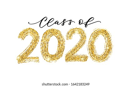 Class of 2020. Modern calligraphy. Vector illustration. Hand drawn brush lettering Graduation logo. Template for graduation design, party, high school or college graduate, yearbook.