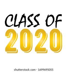 Klasse 2020. Stilvolles Design für den Druck auf T-Shirts, Bademäntel. Vektorillustration-Illustration von College, Schulabschluss Logo für Feiertagsfeier oder Feier. Ein Absolvent der höheren 2020 geschrieben Gold.