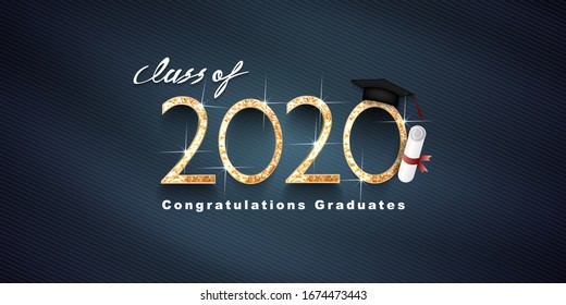 Class of 2020, Vector text for graduation gold design, congratulation event, T-shirt, party, high school or college graduate. Lettering for greeting, invitation card