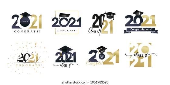 Class of 2021 badges big set. Congrats graduates design concept. Gold and black graduation logo set. Template for web, site, cards, print, invitations, seal or stamp. Vector grad labels collection.