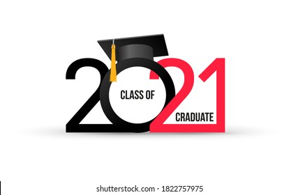 Class of 2021. Elegant logo card in black, red colors for flyers, greetings, invitations, business diaries, congratulations and posters at the prom. Vector illustration. Isolated vector illustration.