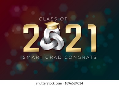 Class of 2021 Glossy Gold Numerals Logo with Triple Mobius Loop Impossible Figure and Smart Grads Congrats Lettering - Golden on Luminous Hexagons Background - Vector Gradient Graphic Design
