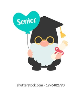Class of 2021. Gnomes holding a senior graduation diploma. isolate on white background.