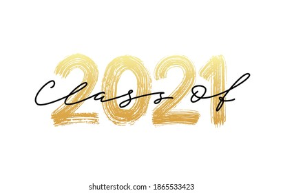 CLASS OF 2021 GRADUATION calligraphy. Vector illustration. Hand drawn brush lettering Graduation 2021 logo. Template for graduation design, party, high school or college graduate class, yearbook.