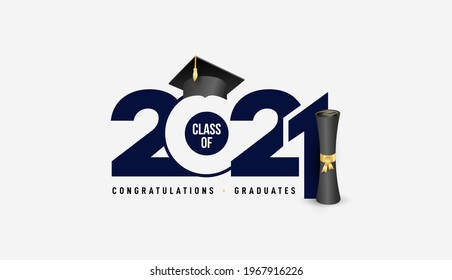 Class of 2021 with graduation cap and black calligraphy. Congrats Graduation, blue color lettering. Template for design party high school or college, graduation invitations. Vector illustration.