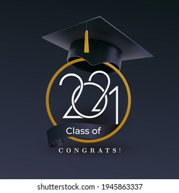 Class of 2021 with graduation cap. Congratulations on graduation with the inscription graduate. Vector illustration template for design party high school or college, graduation invitations