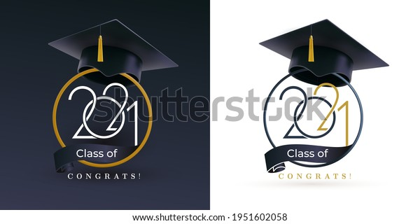 Class of 2021 with graduation cap. Congratulations on graduation with the inscription graduate. Set of Flat simple design. Vector Illustration. Isolated on black and white background.