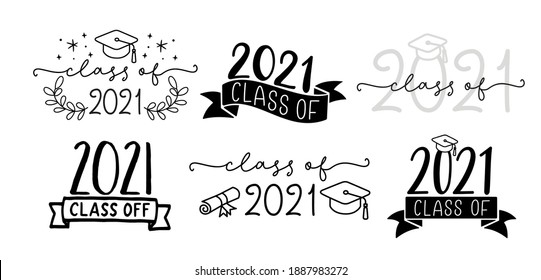 CLASS OF 2021 set of graduation logo with cap and diploma for high school, college graduate. Template for graduation design, party. Hand drawn font for yearbook class of 2021. Vector illustration.
