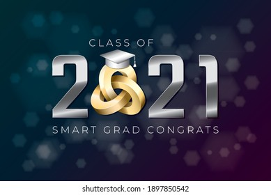 Class of 2021 Silver Metallic Numerals Logo with Triple Mobius Loop Impossible Figure and Smart Grads Congrats Lettering - Chrome on Luminous Hexagons Background - Vector Gradient Graphic Design