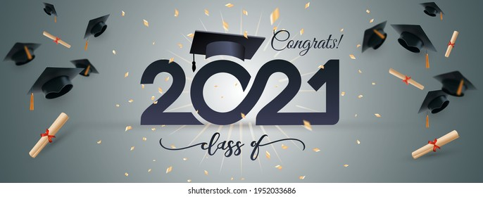 Class of 2021 typography lettering. Poster with golden glitter confetti. Congratulations graduates line design gold black cap white isolated background banner.