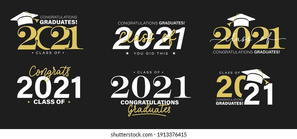 Class of 2021 vector badges set. Congrats graduates concept. Black, gold and white graduation logo collection. Stock vector for shirts, prints, cards, invitations, seal or stamp.